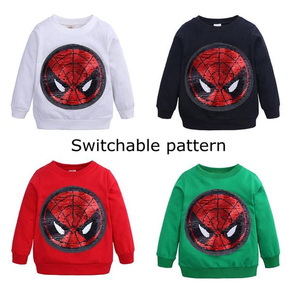 Nouveau design bébé garçon Sweatshirt motif commutable modèle manches longues paillettes enfants top polaire livraison gratuite