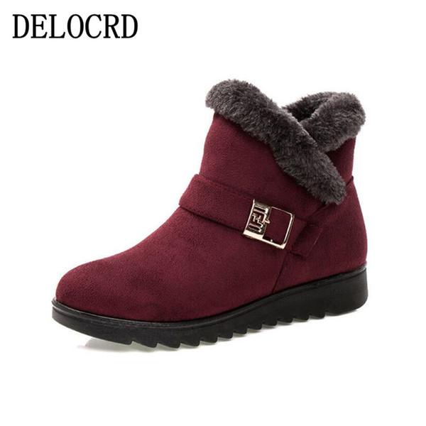 Stivali da neve da donna caldi in pelliccia corta Stivali da caviglia invernali Piattaforma XL Scarpe da donna in pelle scamosciata da donna Comodo trasporto di goccia