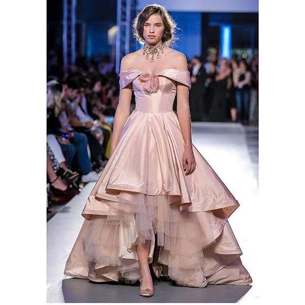 2019 Elegant Blush Pink Evening Dresses Off The Shoulder Hi Low Taffeta Formal Occasion Prom Dresses Custom Made Cheap