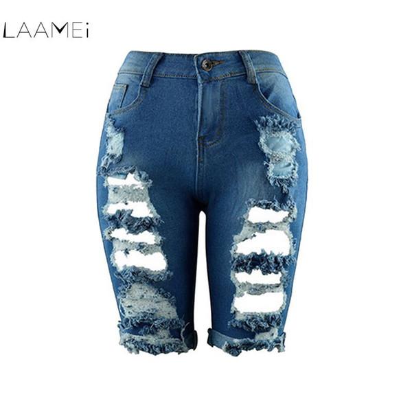 Laamei 2018 Sexy Women Euro Style Half Ripped Jeans High Waist Street Hole Stretch Worn Pants Slim Torn Knee Length Denim Jeans