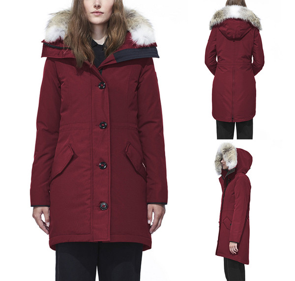 DHL Women Goose ROSSCLAIR Parka Winter Outdoor Thicken Warm Hooded Long Slim Large Wolf Hair Collar Down Jacket