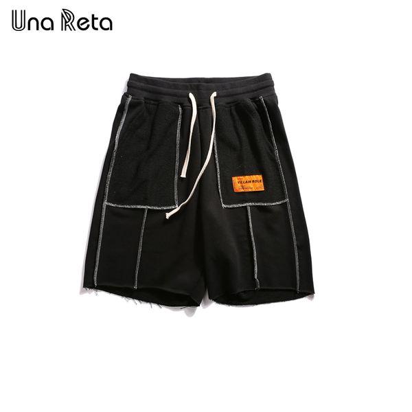 Una Reta Hip-hop style Shorts Men's 2018 New Fashion Casual Elastic Waist Knee Length Sweatpants splicing Streetwear Shorts