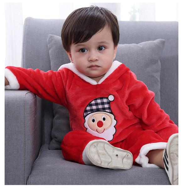 f458ddcb37929d Großhandel Baby Kinder Strampler Weihnachten Weihnachtsmann Overall Langarm  Einteiler Mit Kapuze Kletteranzug Overall Schlafanzug Rotes Kindertuch 3 ...