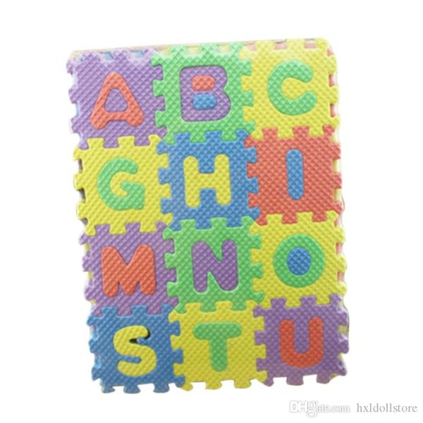 ht Wholesale- Kinderteppich Babyspielmatte Weichboden Krabbeln Mini Puzzle-Matten für Kinder 36pcs / Set 17,8 * 13,5 * 1.7cm Alphabet Ziffern