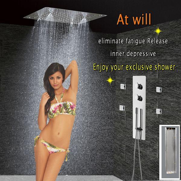 Bathroom Shower Set Concealed Thermostatic Panel Mixer Faucet Bath Tap Ceiling Shower Head 300x300 Rain Mist Massage jets
