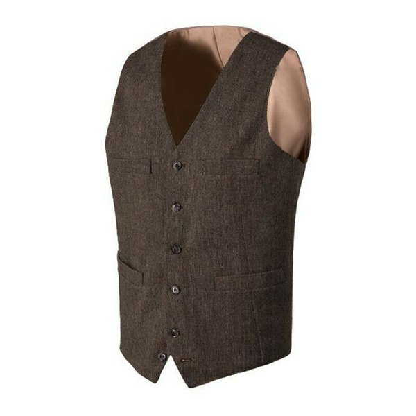 New Style Vintage Brown tweed Vests Wool British style Mens suit Vest tailor slim fit Blazer wedding suits for men