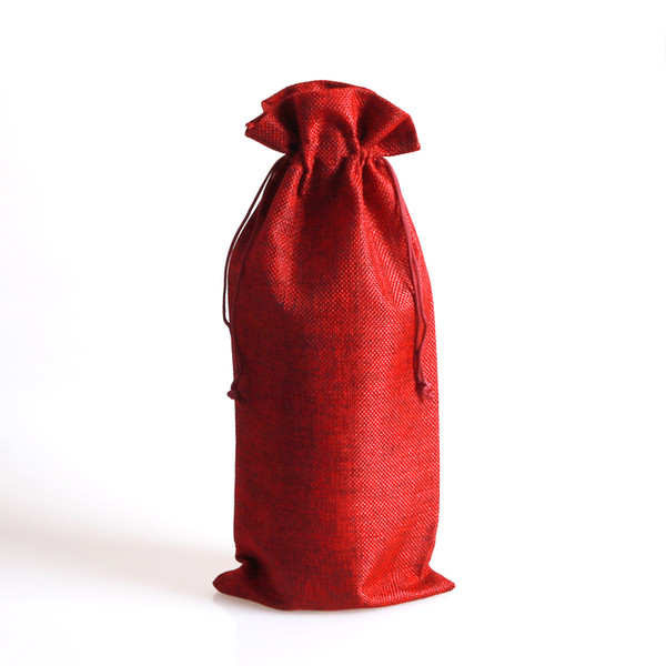 1pc/lot Dark Red Jute Bags 16x35cm Drawstring Jewelry Pouch Wedding Red Wine Bottle Jewelry Packaging Bags Cute Linen Gift Bag