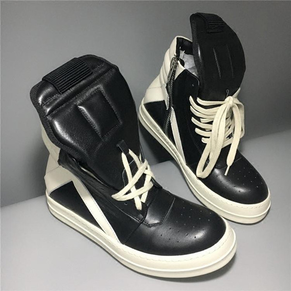 Neue handgemachte echtes Leder schwarz / weiß Korb unisex Straße Stiefel Unisex Hip-Hop-Stiefel schnüren sich oben