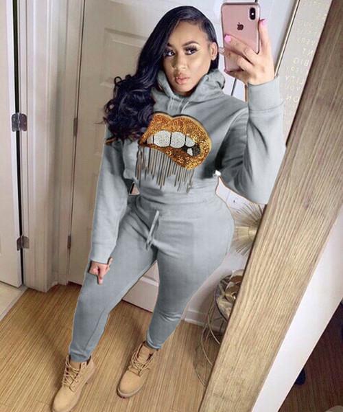 Mulheres Sprots Treino New Arrival Outono Jumpersuits Moda Casual Womens Outdoor Fatos Hoodie + calça Conjuntos Tops Roupa