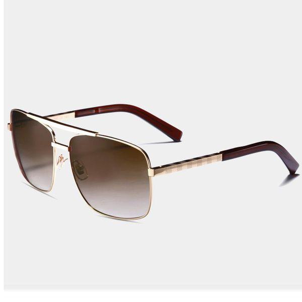роскошные мужчины Марка дизайнер солнцезащитные очки 0259 отношение солнцезащитные очки золотая рамка квадратная металлическая рама винтажный стиль открытый классическая модель с коробкой