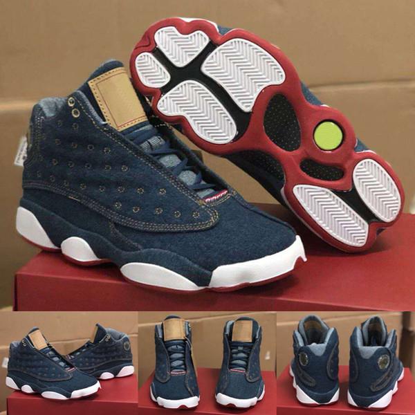2019 Yeni Jumpman 13 13 s Denim LS Kot Travis Çocuklar Çocuklar Basketbol Ayakkabıları Erkekler Mavi Kot Sneakers Yüksek Kalite
