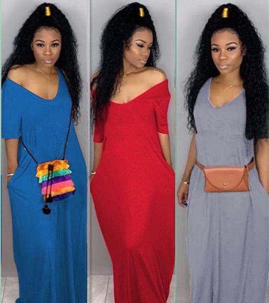 Diseñador de la marca maxi vestido de las mujeres de manga corta faldas largas sueltas con cuello en v vestidos de impresión de la mujer de primavera ropa de verano 983