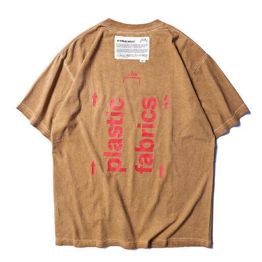 2019 Yaz A-COLD-WALL ACW Logo Baskılı Plastik Kumaşlar Kadın Erkek T Shirt tees Hiphop GB Streetwear Erkekler Pamuk T gömlek