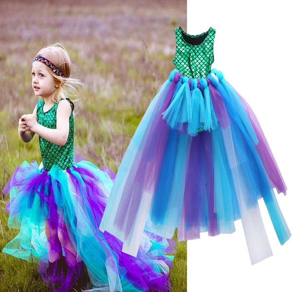 New Kid Girl 2Pcs Clothing Set Girl Mermaid Top Hand-Knit Fairy Tulle Tutu Skirt Sets Ballet Pettiskirt Princess Dress 2-7T