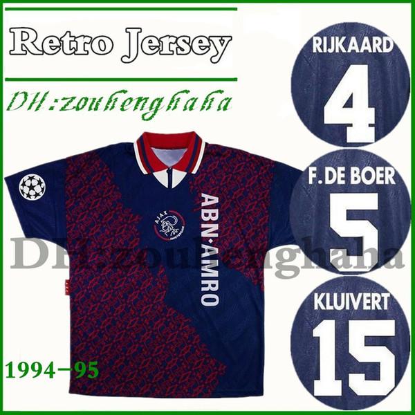 1994 1995 Ajax Retro FUTEBOL JERSEY 94 95 RIJKAARD KLUIVERT LITMANEN DE BOER SEEDORF DAVIDS SEEDORF OVERMARS voltar Camisa de futebol