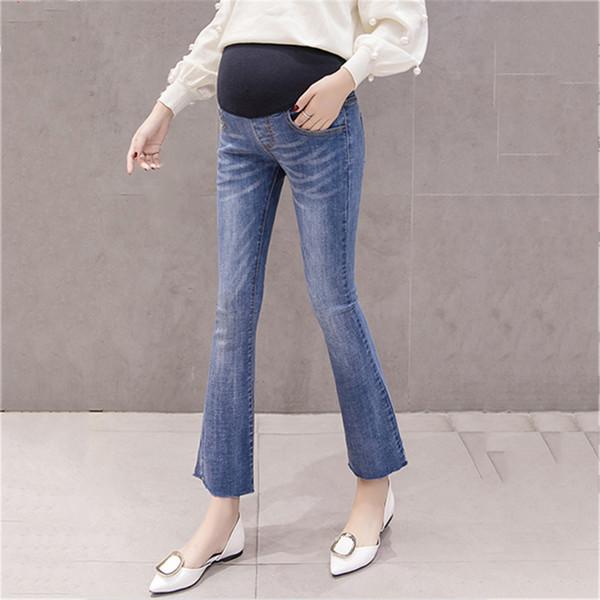 2019 Nova Primavera Inverno Moda Jeans Para Mulheres Grávidas Flare Calças Calças Jeans Maternidade Prenancy Elastic Calças Compridas