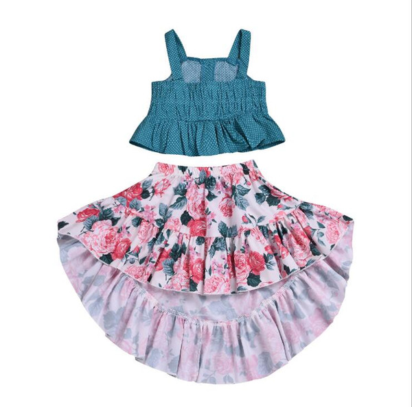 Kids Designer Clothes Girls Dress Summer Toddler Baby Girls Ruffle Strap Top+Boho Floral Dovetail Skirt Summer Outfit Clothes Two Piece Set