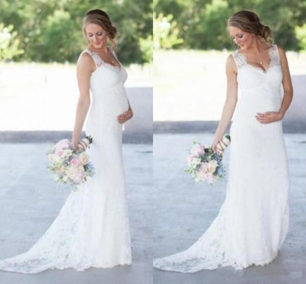 Elegant Lace Maternity Wedding Dresses Cheap Romantic V Neck Empire Waist Wedding Dress For Pregnant Women Plus Size Bridal Gowns