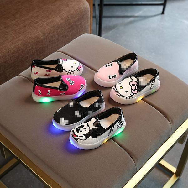 Lienzo LED para hombres y mujeres, dibujos animados para niños, bebés ligeros y ligeros, ocasionales, zapatos de mujer para niños, niños y niñas para niños