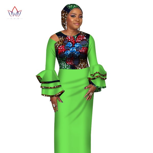 Weinlese-Kleid 2018 neue Art-afrikanische Kleider für Frauen Vestidos Lautsprecherhülse afrikanische Kleidung Dashiki Party Kleider WY2702