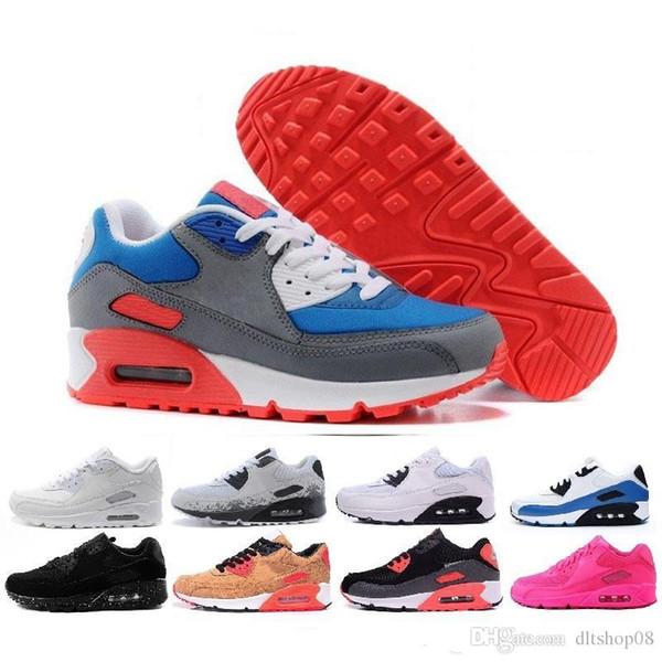 nike air max 90 Off white Flyknit Sapatos Clássicos Homens e mulheres Sapatos de Corrida Sports Trainer Almofada Superfície Respirável Sapatos de Esportes 36-45