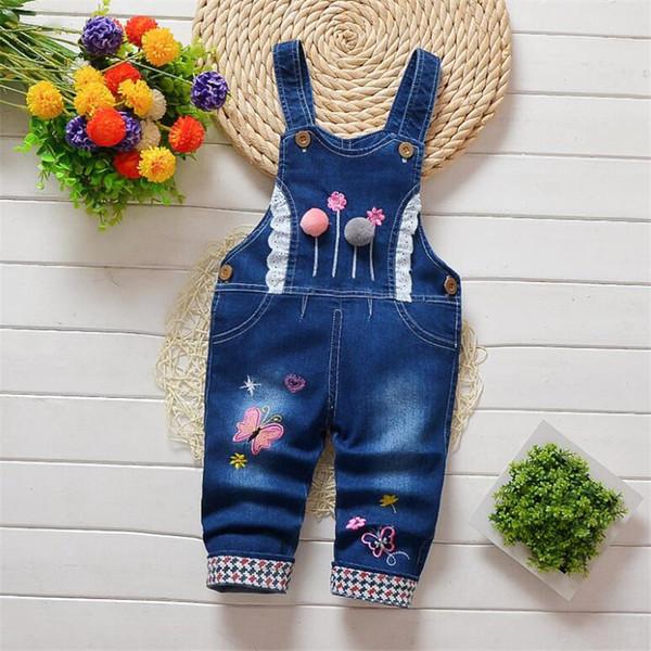 BibiCloa 2019 Kids Pants Cartoon Denim Overall For Girl Bib Jeans Spring Autumn New Children's Butterfly Cartoon Pants