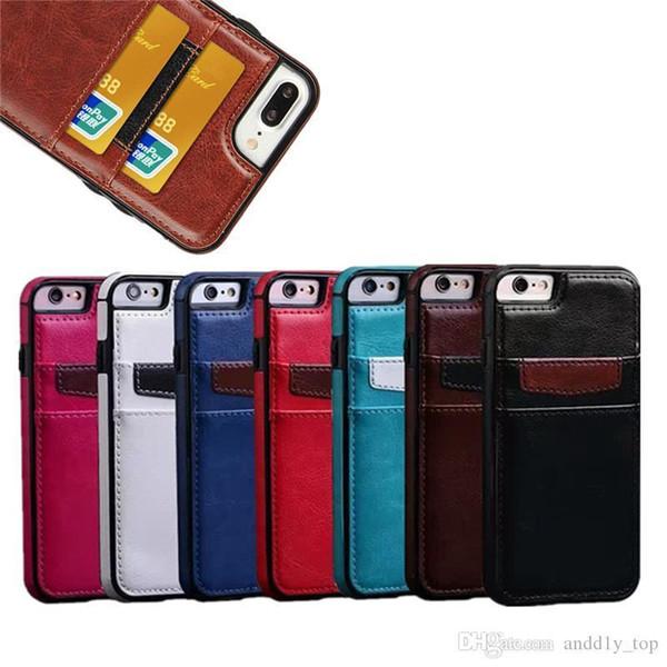 Para iphone x 8 7 plus case luxo pu couro protetor de telefone celular tampa traseira com slots de cartão de crédito