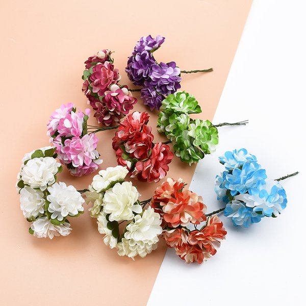 6pcs Artificial plants Paper flowers decorative flowers wreaths wedding home decor Carnation scrapbook diy gifts box Christmas