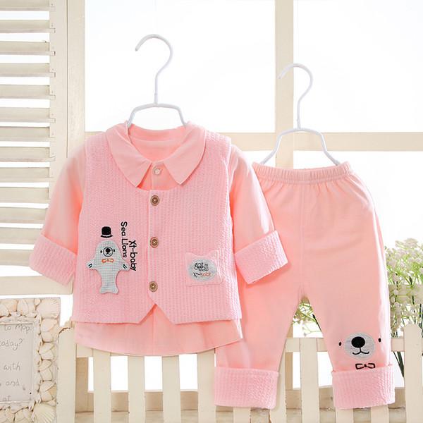 Nouveau costume de trois pièces d'armure de printemps de bébé en coton de printemps et d'automne de bébé 0-1 ans outwear de printemps
