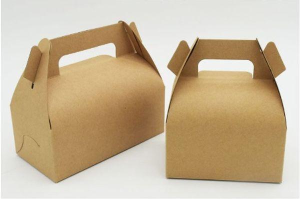 10 piezas 11.5 * 8 * 6 cm Kraft caja de papel con manija de la boda de la caja de regalo de empaquetado mollete fiesta de cumpleaños Postre hornear galletas del paquete de la magdalena Caja