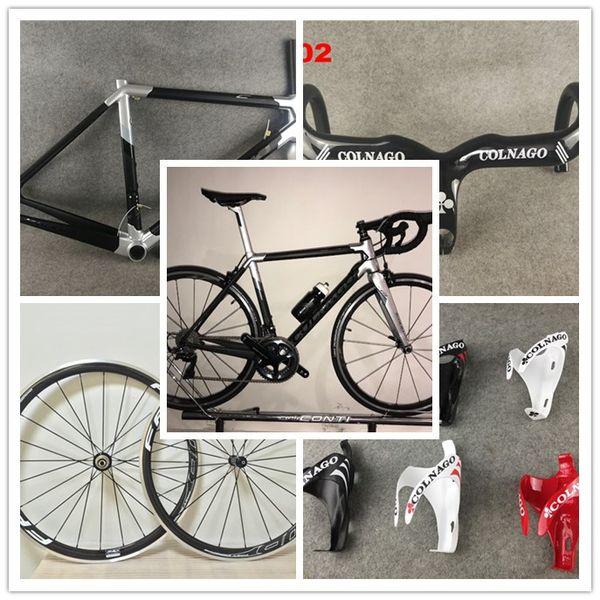 Sliver Colnago c64 Road carbon frame Bike COLNAGO handlebar COLNAGO bottle cages FFWD 38mm alloy carbon wheelset