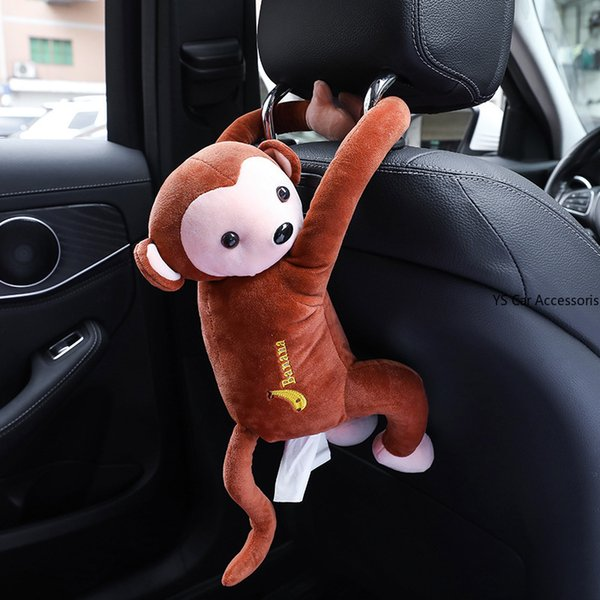 Universal Car Armrest Box Tissue Box Cover Holder Creative Cartoon Monkey Cute Tissue Car Styling Interior Accessories