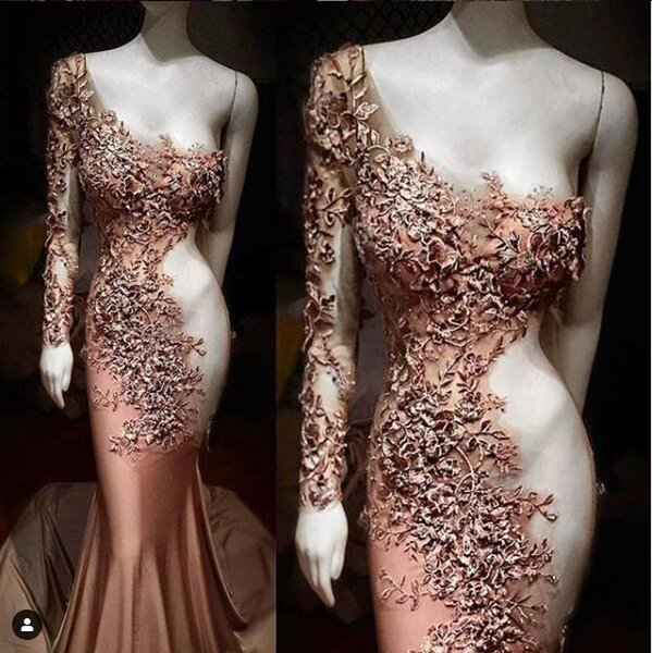 Stylish Mermaid Lace Arabic 2019 Prom Dresses Long Sleeve Beaded Evening Dresses Cheap Sexy Formal Party Bridesmaid Pageant Gowns