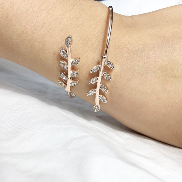 Maxi Retro mode ouverture joker feuille diamant bracelet bracelet croix dame feuille bling décoration