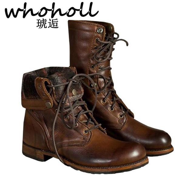 WHOHOLL Inverno Ankle Boots de Couro Genuíno Dos Homens Manter Quente de Pelúcia Martin Botas de Divisão de Trabalho De Couro Da Motocicleta Plus Size 38-48