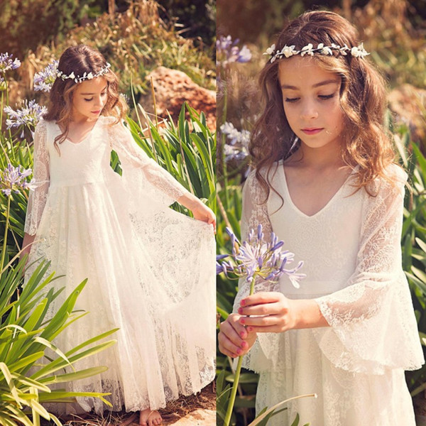 New Fancy V Neck 3/4 Sleeves A-line Lace Flower Girl Dresses Cheap Country Style Little Girls Gowns For 2-12 Years MC0668