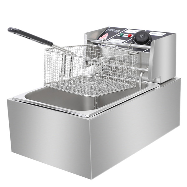 2019 2500W Stainless Steel Commercial Single Tank Electric Deep Fryer  Electric Deep Fat Fryer With Basket & Drain Professional Large Tempe USA  From ...