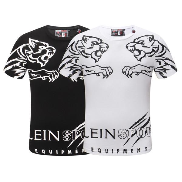 Moda Tees Para Homens Homens De Algodão T-shirt Gola Larga Homem Top de Verão de Manga Curta Preto camisa Branca tee