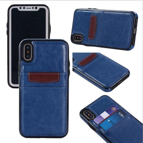 Per Samsung S10 S9 S8 S7 S6 S5 Plus Edge Note 9 8 5 4 PC ibrido TPU Slim Vintage Slot porta carte di credito in pelle sintetica Design Cover Case