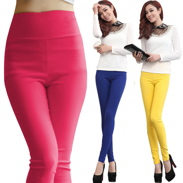 Plus size 5XL 6XL women stretch cotton leggings candy color female skinny pencil pants high waist Ladies Trousers White Y190603
