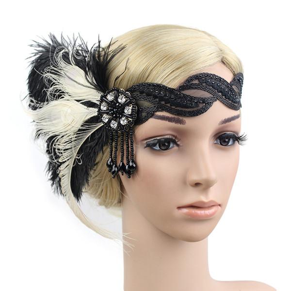 heap Hair Jewelry KMVEXO 1920 Flapper Headpiece Roaring 20s Great Gatsby Headband Black Feather Headband 1920s Flapper Gatsby Hair Access...