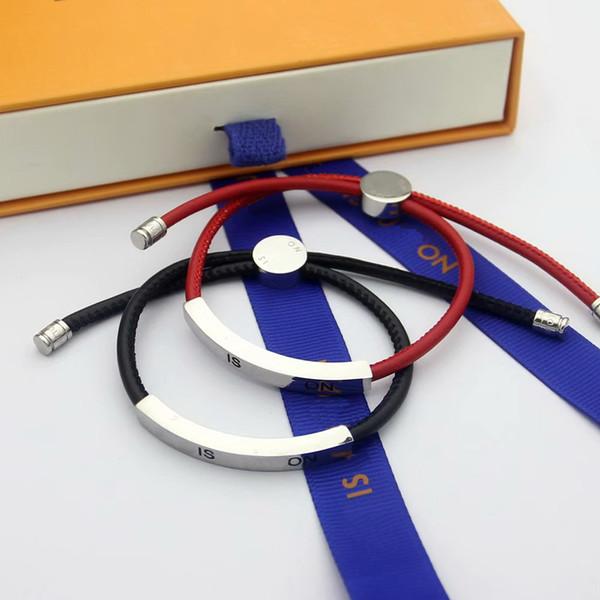 Fashion Brand Named Bracelets Lady V Letter Design Red/Black Leather Cord Bracelet Bangle With 18K Gold Engraving Letters Metal Plate