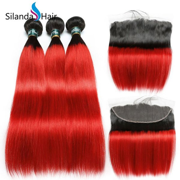 Silanda Hair 2 Tone Colored #T 1B/Red Straight Brazilian Remy Human Hair Wefts 3 Weaving Bundles With 13X4 Lace Frontal Free Shipping
