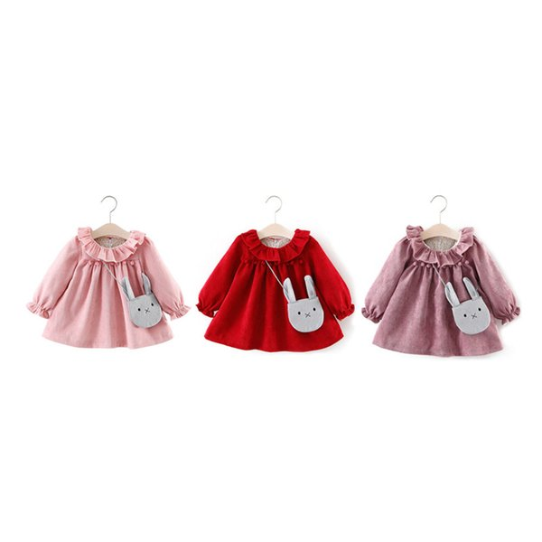 New Fashion Arrival Baby Dresses For Girls Spring Autumn Long Sleeve Lotus Leaf Collar Pocket Doll Dress For Girls