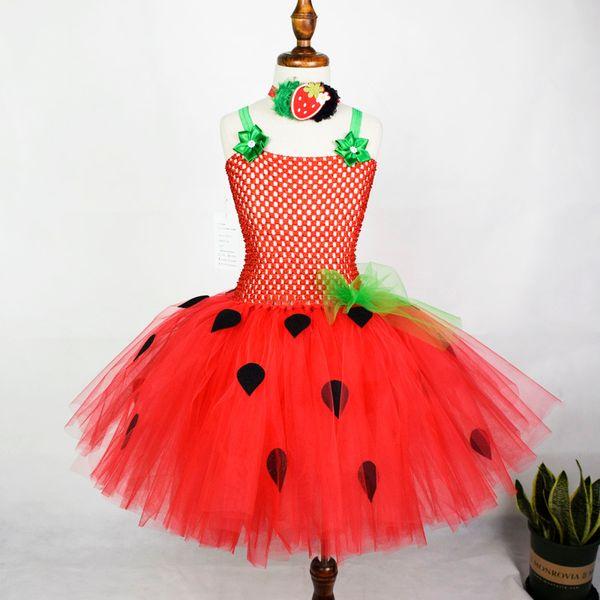 Girls Red Strawberry Flowers Tutu Dress Baby Girls Birthday Party Dress Kids Halloween Costume Y19061501