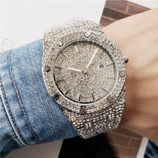 2019 luxury fa hion men 039 watch rhine tone diamond de igner quartz watch men men watche black gold military reloj regarder