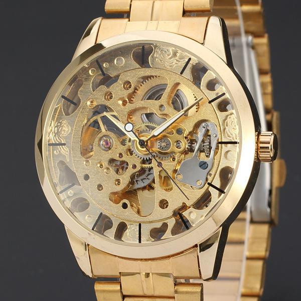ПОБЕДИТЕЛЬ Золотой стальной ремень мужские автоматические часы Внешняя торговля Горячие продажи Досуг Мода мужские деловые часы