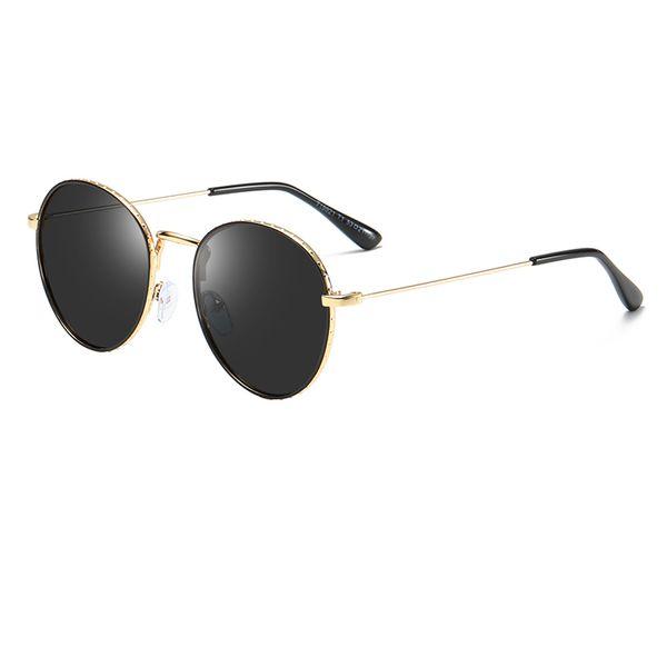 Hochwertige Kindersonnenbrille Mädchen Jungen Kindermode Runde Goldrahmenbrille Hochwertige Sonnenbrille Anti-UV-Linse mit Schale