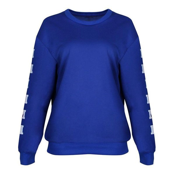 Trendy Women Ladies round neck pullover letter print Sweatshirts Long Sleeve casual Polyester Blue Tops one pieces