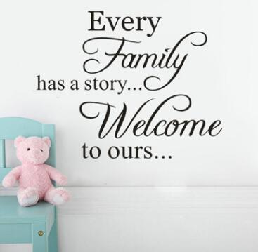 Quotes Wall Sticker Character Wall Decal Every Family Has A Story Welcome To ours Removable Art Vinyl Mural Home Decoration